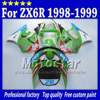 1999 zx6r fairings kiti toptan satış-Kawasaki Ninja ZX6R için yol yarış motosiklet kaportalar set ZX-6R 98 99 ZX 6R 98 99 1998 1999 abs kaporta kitleri Sk17