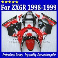 carenado kawasaki zx6r 1999 al por mayor-7Gifts carenados de motocicletas para Kawasaki Ninja ZX6R ZX-6R 98 99 ZX 6R 98 99 1998 1999 rojo brillante con carenado ABS negro Sk25