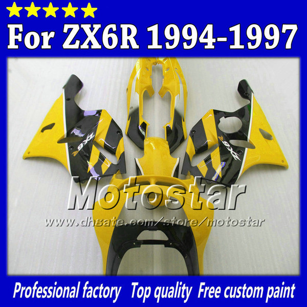 Carenatura lucido giallo nero lucido sk56 per Kawasaki Ninja ZX 6R 1994 1995 1996 1997 ZX-6R ZX6R 94 95 96 97 carena aftermarket + 7gifts