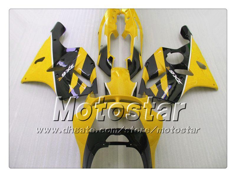 Glossy dusty yellow black sk56 fairing set for Kawasaki Ninja ZX 6R 1994 1995 1996 1997 ZX-6R ZX6R 94 95 96 97 aftermarket fairing +7gifts