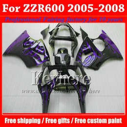 $enCountryForm.capitalKeyWord Canada - Free 7 gifts !fairing kit for Kawasaki Ninja 05-08 ZZR600 purple flame in black plastic motobike parts ZZR 600 2005 2006 2007 2008 Ph98