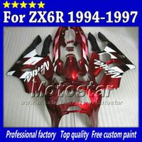 обтекатель zx6r 95 красный оптовых-Красный черный sk60 обтекатель набор для Kawasaki Ninja ZX 6R 1994 1995 1996 1997 ZX-6R ZX6R 94 95 96 97 послепродажное обтекатель +7gifts