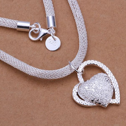 Wholesale Wholesale Sterling Silver Jewellery - Pretty silver jewellery 925 Sterling Silver Plated fashion jewelry charm Heart PENDANT necklace N270