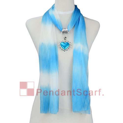 / Mode 5 Farben Gemischt Schmuck Halskette Schal Chiffon Anhängerschal mit Charme Plastikherz Anhänger, Freies Verschiffen, SC0012