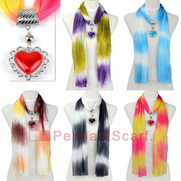 Wholesale Chiffon Scarf Necklace - 10PCS LOT Fashion 5 Colors Mixed Jewellery Necklace Scarf Chiffon Pendant Scarf With Charm Plastic Heart Pendant, Free Shipping, SC0012