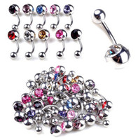 Wholesale Double Gem Belly Bar - 30% Off~! 100X Punk Double Gem Crystal Stainless Steel Belly Bars Navel Rings Piercings Body Jewellry [BB39*100]