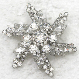 Bridal Brooch Flower Canada - Wholesale Fashion Crystal Rhinestone Marquise Brooch Pin Bridal Wedding party Flower Brooches Jewelry Accessories C073