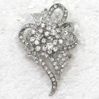 gelin kristali yapay elmas broşları toptan satış-12 adet / grup Toptan Kristal Rhinestone Gelin broş Nedime Düğün Parti balo Çiçekler Moda Kostüm Pin Broş Takı hediye C078