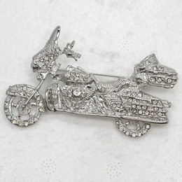 Wholesale Accessory Jewelry Wholesale China - Wholesale Fashion Crystal Rhinestone Brooch Pin Harley Davidson Motorcycle Brooches Jewelry Accessories C082