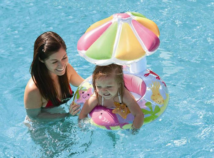 1 stks opblaasbare bloem baby float w piepend geluidspeelgoed zwembad floatie nieuw