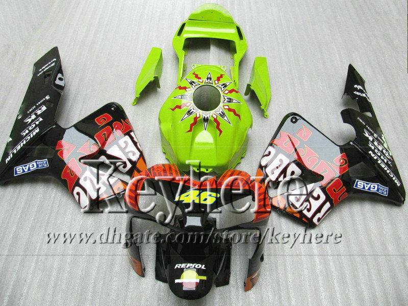 Carenados de carreras de motocicletas para Honda Injection 2003 2004 CBR600RR CBR-600RR 03 04 verde REPSOL piezas de motobike F5 CBR 600RR con 7 regalos By8
