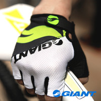 guantes de bicicleta verdes al por mayor-NUEVA bicicleta GIGANTE medio dedo guantes transpirable Slip Glove talla M-XL ciclismo rojo / azul / negro / verde