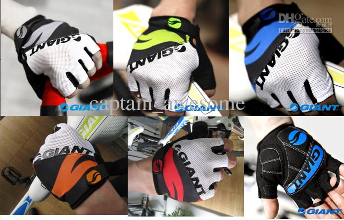 NUEVA bicicleta GIGANTE medio dedo guantes transpirable Slip Glove talla M-XL ciclismo rojo / azul / negro / verde