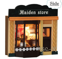 Wholesale Wooden DIY Handmade Assembly Mini House with Light DIY House Doll House Wood House Children s Gift quot Maiden Store quot Christmas Gift
