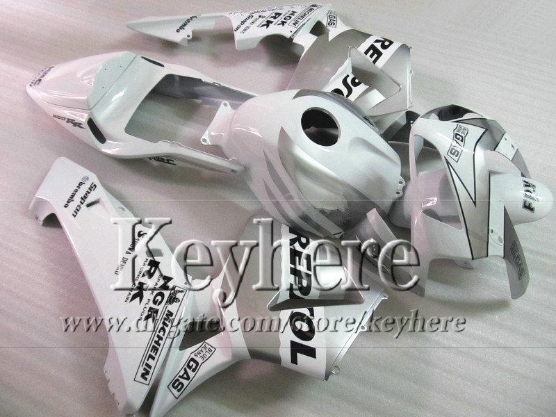 Kit de carenado ABS para CBR 600RR 03 04 Honda Injection Repetidor de plata blanco REPSOL CBR-600RR 2003 F5 CBR600RR 2004 con 7 regalos By42