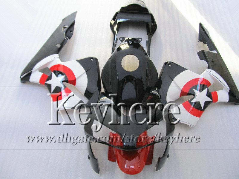 Kit de carenado ABS para CBR 600RR 03 04 Honda Injection negro rojo blanco nuevo mercado de accesorios CBR-600RR 2003 F5 CBR600RR 2004 con 7 regalos By48
