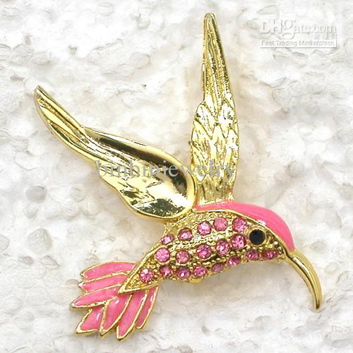 Colibrí broches al por mayor Crystal Rhinestone esmalte Bird Fashion Costume Pin Broche C099