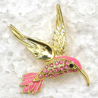 strass kolibri brosche großhandel-Kolibri Broschen Großhandel Kristall Strass Emaille Vogel Mode Kostüm Pin Brosche C099