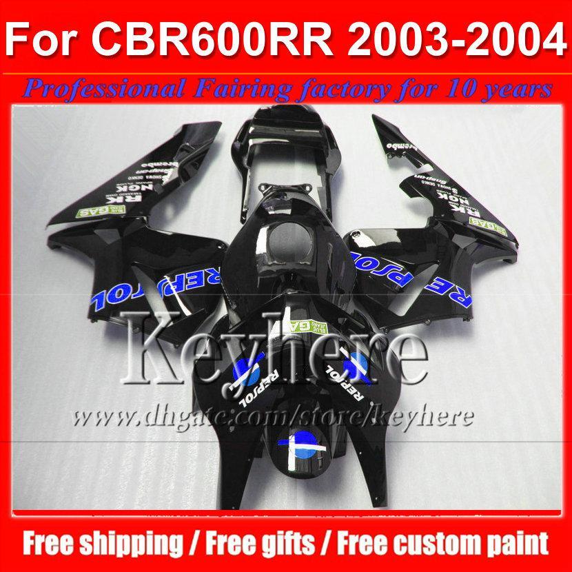 7 regalos gratis negro azul REPSOL motocicletas para CBR 600RR 2003 2004 Honda Injection CBR-600RR 03 F5 CBR600RR 04 kit de carenado plástico By93