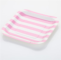 PROMOTION 720 pcs (12pcs pack ) Pink Striped Paper Plates Best for Baby Shower Wedding Decoration FREE SHIPPING & Wholesale Pink Paper Plates - Buy Cheap Pink Paper Plates from ...