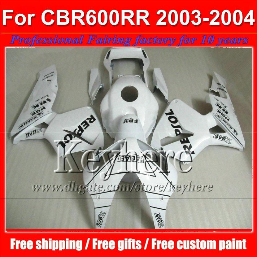 Kostenlose 7 Geschenke weiß REPSOL ABS Motorräder für CBR 600RR 2003 2004 Honda Einspritzung CBR-600RR 03 F5 CBR600RR 04 Plastikverkleidungssatz By108