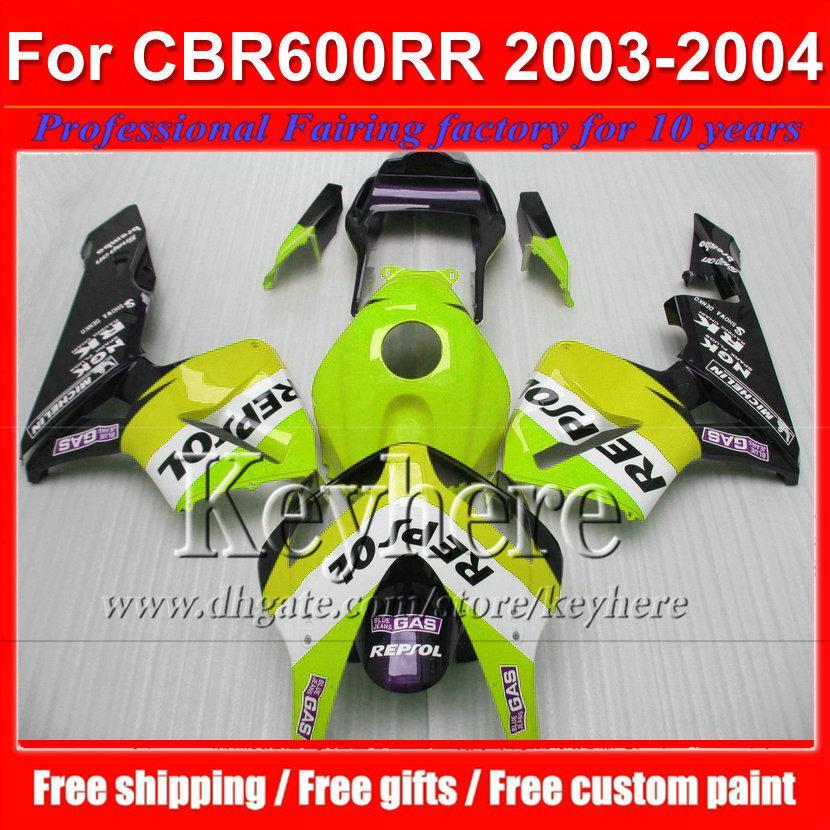 Gratis 7 geschenken Groene Repsol ABS Motorfietsen voor CBR 600RR 2003 2004 Honda Injectie CBR-600RR 03 F5 CBR600RR 04 Plastic Backings Kit by114