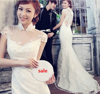 Wholesale Lace Cheong Sam - 2013 Elegant Red Lace Sheath Column High Neck Short Sleeve Cheong-sam Wedding Dresses Bridal Gowns Dress Cheongsam Mermaid Wedding Dresses
