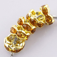Wholesale European Crystal Spacers - Wholesale Free Shipping 8mm gold plated Crystal Rhinestone Round Loose Spacer Charm European Beads