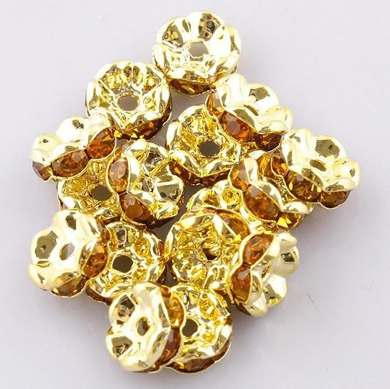 Groothandel gratis verzending 8mm vergulde kristallen strass ronde losse spacer charme Europese kralen
