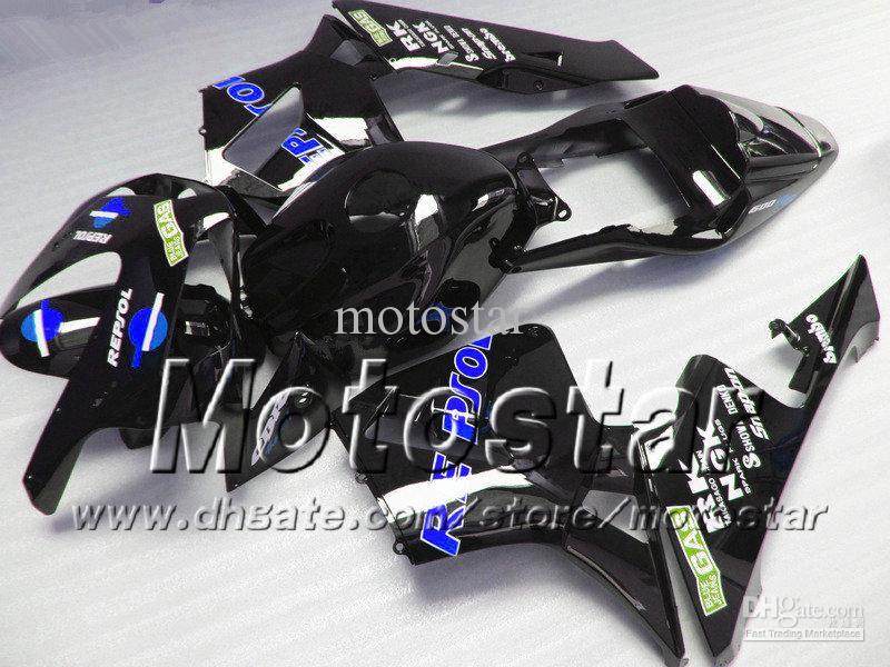 7 Geschenke Spritzguss Verkleidungssatz für HONDA CBR 600 RR 03 04 CBR600RR F5 2003 2004 Repsol schwarze Motorradverkleidung
