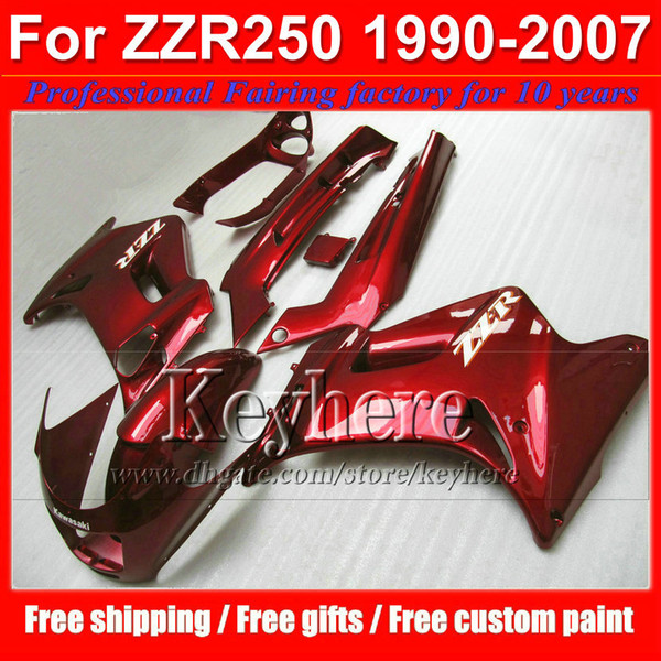 Racing motorcycle fairing kit for Kawasaki ZZR250 90 91-07 1990- 2006 2007 ZZR 250 ABS pure red plastic bodywork set with 7 gifts tp6