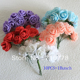 Wholesale Hair Accessories Materials - 600PCS 50bunches 10C available DIA 2cm PE artificial rose foam flower bouquet diy wedding candy box cartoon doll hair accessories material
