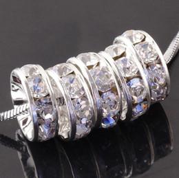 Perlas de plata rondelle online-¡Envío gratis! plateado 8 mm lado plano Rhinestone Rondelle espaciadores perlas joyas findngs