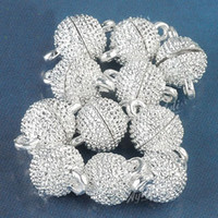 Wholesale Strong Magnetic Clasp Silver Plated - 50pcs Silver Plated Strong Magnetic Clasps 10mm Jewelry Finding