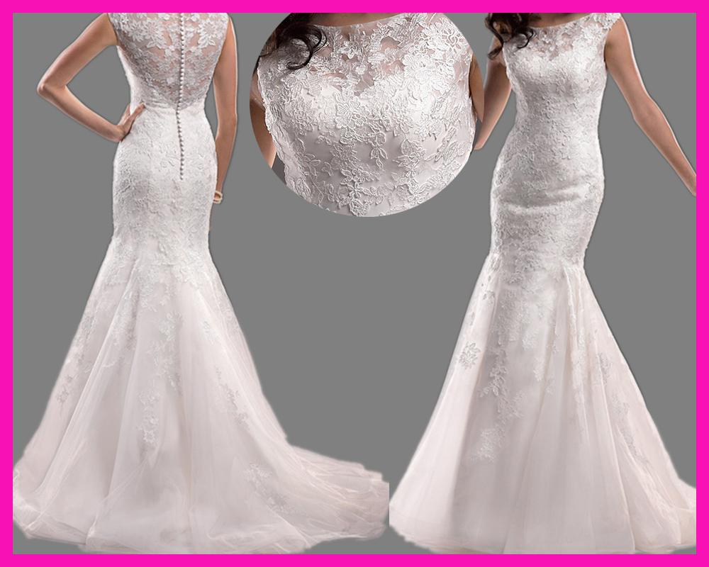 Mermaid Wedding Gowns With Sleeves: 2014 Elegant Cap Sleeve Boat Neck Lace Mermaid Bridal
