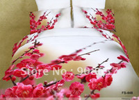 Wholesale Duvet Covers Plum - 500 thread count deep pink plum blossom wintersweet flower pattern bed duvet covers sets 4 5pcs for full queen comforter