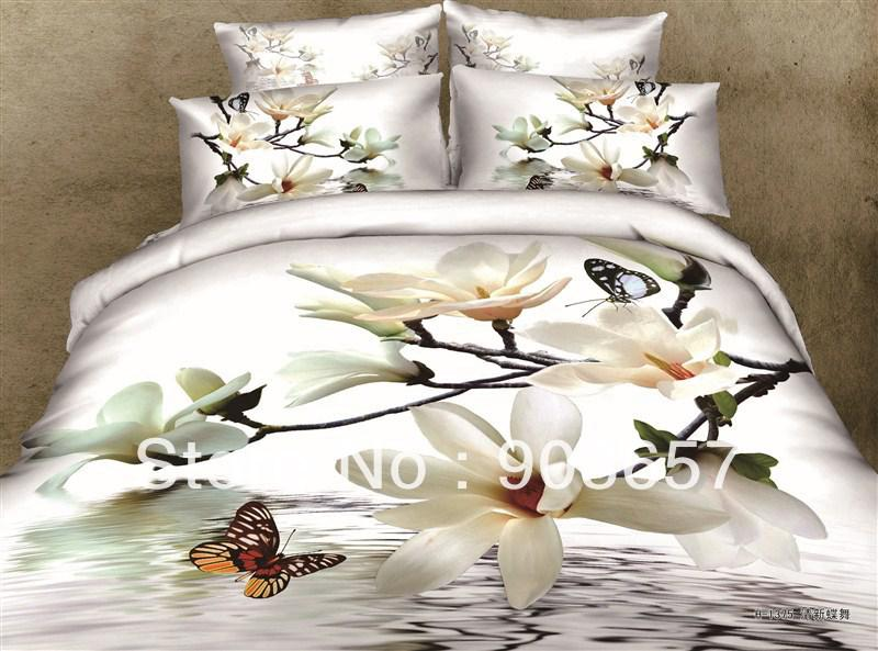 Luxurious 3d white flower butterfly bedding set 100 cotton oil luxurious 3d white flower butterfly bedding set 100 cotton oil painting fullqueen girls bed in a bag bed sheet comforter sets twin bedding king duvet mightylinksfo