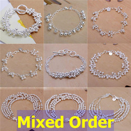 """Wholesale Silver 925 Grape - Mixed Order 12pcs lot 8"""" 925 Sterling Silver Plated Beads Small Balls Grapes Vine Strands Cords Bracelets #BC101"""