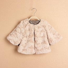 Wholesale leopard jackets kids - 2016 Spring Baby girls Faux Fur Poncho beige brown shawl kids girl thick cardigan leopard lining children's Cape jackets