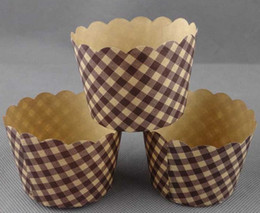 Wholesale Muffin Liner Brown - Brown Grid Cupcake Wrapper High Temperature Baking Paper Cups Cupcake Liners Muffin Cake Tray Bakeware Tool 200 pcs lot