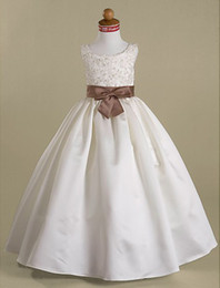 Wholesale Wedding Ball Gown Gold Accents - Hot Selling Scoop Floor-length Satin Lace Applique with Beadings Brown Sash Accent Ball Gown Flower Girl Dress for Wedding White Ivory