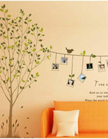 Room Decor parete Photo Frame Memory albero Wall Sticker uccello Photo Frame Rope parete per bambini Carta