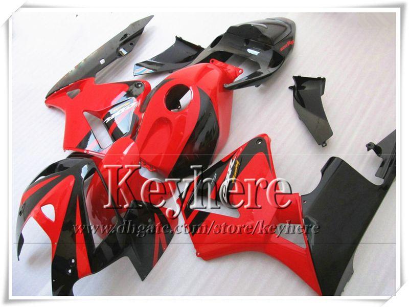 Kit de carenado negro rojo carenado para CBR-600RR 2005 2006 Piezas de moto Honda Honda Injection F5 CBR600RR 05 CBR 600RR 06 con 7 regalos Yr45