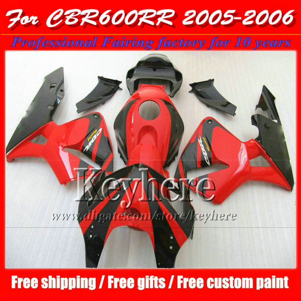 Freeship carene rosso nero per CBR-600RR 2005 2006 Honda Injection F5 parti per moto CBR600RR 05 CBR 600RR 06 con 7 regali Yr45