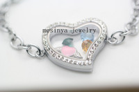 Wholesale Cable Chain Bracelets - 10pcs expensive genuine czech crystal flat cable oval chain glass memory living floating curved heart locket 19-20cm bracelet