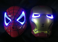 Wholesale Make Led Costumes - Best price GLOW In The Dark LED Iron Man Spider Man Mask Halloween Costume Theater Prop Novelty Make Up Toy Kids Boys Favorite 10pcs