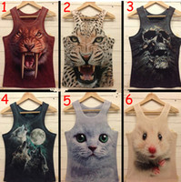 Wholesale Tight Fashion Vests - Tight sleeveless vest 3 d lovers animal print 3 d sports vest fashion trends free shipping