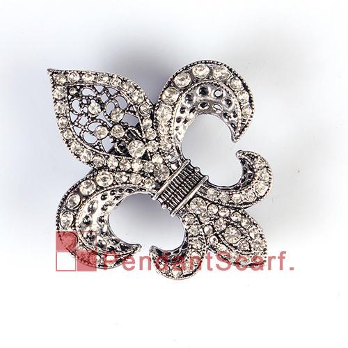 Fashion DIY Jewellery Scarf Magnet Accessories Mental Alloy Rhinestone Fleur De Lis Magnetic Pendant, AC0223