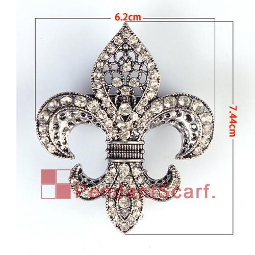12 stks / partij mode diy sieraden sjaal magneet accessoires mentale legering strass fleur de lis magnetische hanger, gratis verzending, AC0223