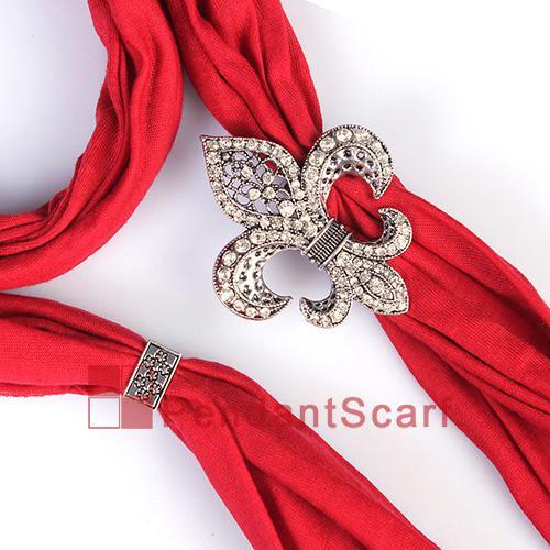12PCS/LOT Fashion DIY Jewellery Scarf Magnet Accessories Mental Alloy Rhinestone Fleur De Lis Magnetic Pendant, Free Shipping, AC0223